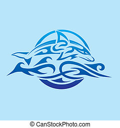 Abstract Dolphin Emblem - Tribal style dolphin leaping over...