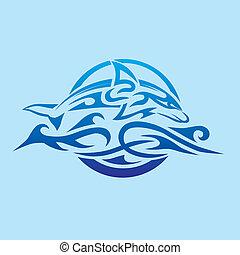 Abstrakt, delfin, emblem