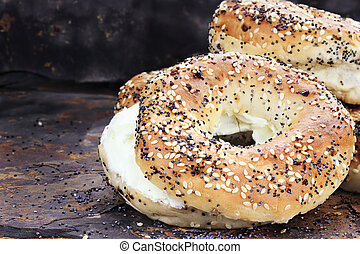 Bagels and Cream Cheese - Stack of bagels and cream cheese...