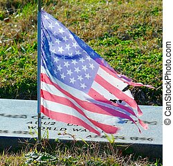 GRAVE MARKER WITH FLAG
