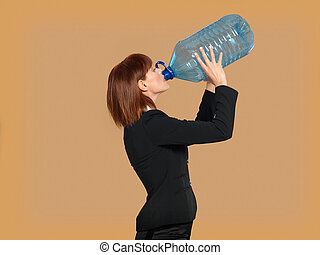 attractive, young businesswoman drinking water, big bottle -...