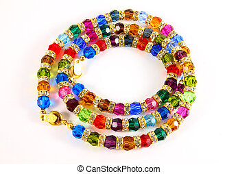 colorful necklace crystal on white background