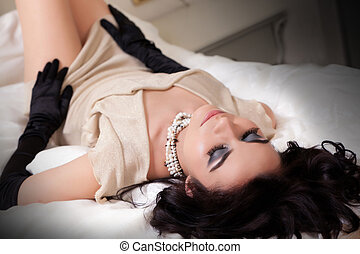 Boudoir Portraiture - Portrait of a young gorgeous brunette...