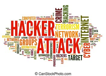 Hacker attack in word tag cloud - Hacker attack concept in...