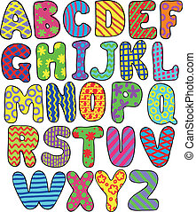 colorful alphabet - colorful whimsical hand-drawn alphabet