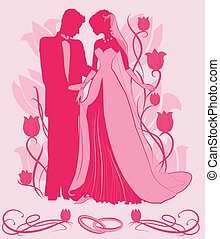 Ornate Bride and Groom Silhouette on floral tulip background...