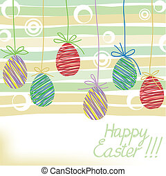 Easter greetings - hand-drawn postcard with Easter eggs