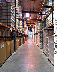 storage zone in an industrial warehouse - interior...