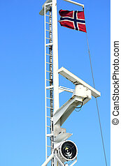 Telecommunication radar ship with norways flag