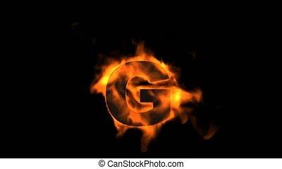 fire letter G,uppercase