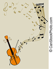 Violin and notes - Vector image of the violin with the...