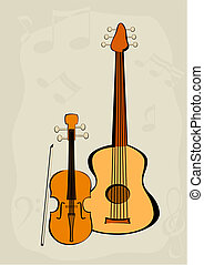 Violin, quitar and notes - Vector image of the violin with a...