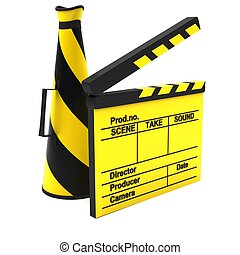 Yellow movie clapper and horn