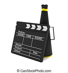 Movie clapper and horn