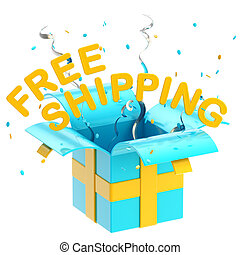 "Word ""free shipping"" inside a gift box - Words ""free..."