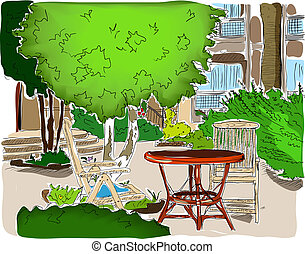 Cafe in the Garden. Full colored version. - Cafe in the...