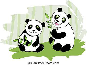 Two pandas.