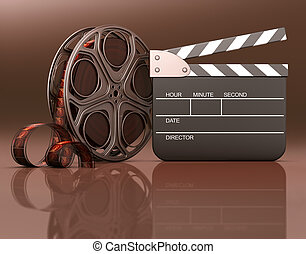 Featuring Movie - Roll of film with a clapboard beside. Your...