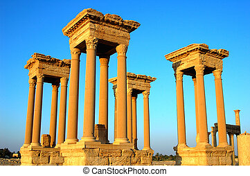 Relics of Palmyra in Syria at sunse