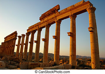 Relics of Palmyra in Syria at sunset