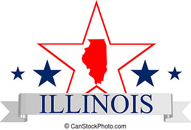 Illinois star - Illinois state map, star and name.