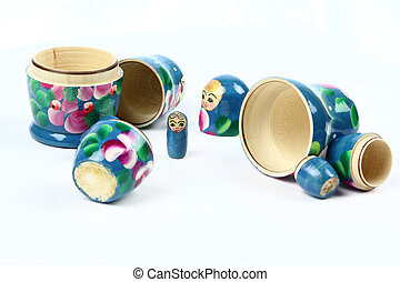 orphan - four opened matryoshka-dolls. Smallest one stands...