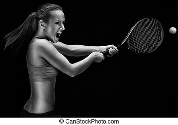 Ready to hit - Female tennis player with racket ready to hit...