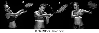 Ready to hit! - Female tennis player with racket ready to...