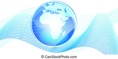 Blue earth globe wave - Vector illustration for your design