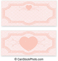 Retro wedding invitation in pink colors