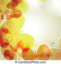 Grunge background with color butterflies