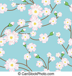 Seamless pattern with tree blossoming brunch. Vector...