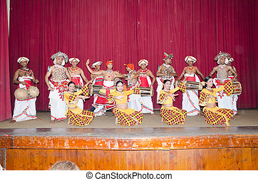 Folk dances in the local theater scene - Kandy, Sri Lanka,...