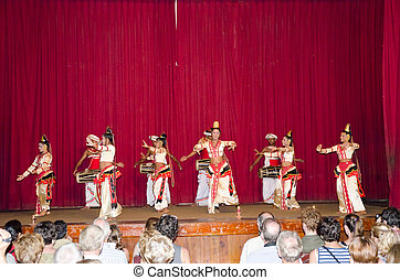 Folk dances in the local theater scene. - Kandy, Sri Lanka,...