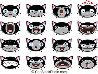 Set of 16 smiley kitten faces all grouped