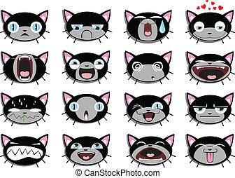 Conjunto, 16, Smiley, gatito, caras