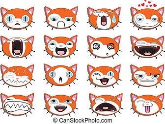gatito, Conjunto, caras,  Smiley,  16