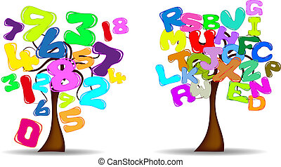 Trees with letters and numbers
