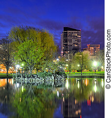 Boston Public Gardens - Skyline of Boston, Massachusetts...