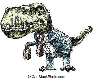 Business Dinosaur - A cartoon dinosaur, dressed for...