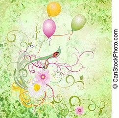 verão, prado, bexigas, primavera, Textured, Ilustração,...