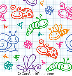 hand drawn pattern with insects - hand drawn seamless...