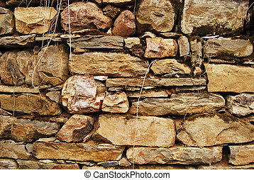 Old country stonewall - Old country structure stonewall, dry...
