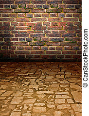 ancient stone pavement - an ancient stone roadway, raised...