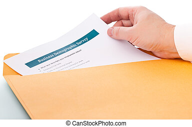 Business demographic survey - hand takes the paper from the...