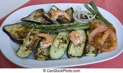 Vegetable and shrimp dinner