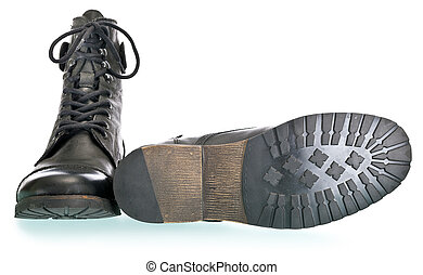 fashion force - pair of coarse male boots isolated on white...