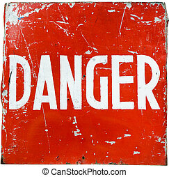 word quot; danger quot; on a red shield - word danger on a...