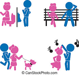 girl boy sticks - couple or love concept