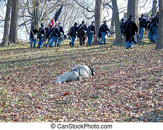 Civil War Reenacters - The Union Soldiers are going up the...
